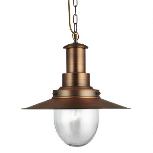Fisherman Pendant - 1 Light Large Pendant Copper With Seeded Glass 5301Cu